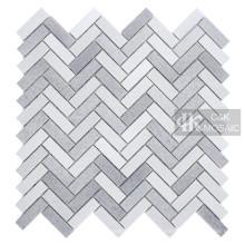Grey Glass Mosaic Tile Backsplash Fischgrätenmuster