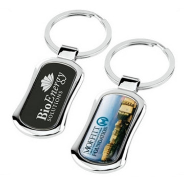 Rectangle Cmyk Printing Logo Promotion Schlüsselanhänger mit Emaille Beschichtung (F1136)