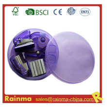 Mini grampeador em caixa de plástico redonda