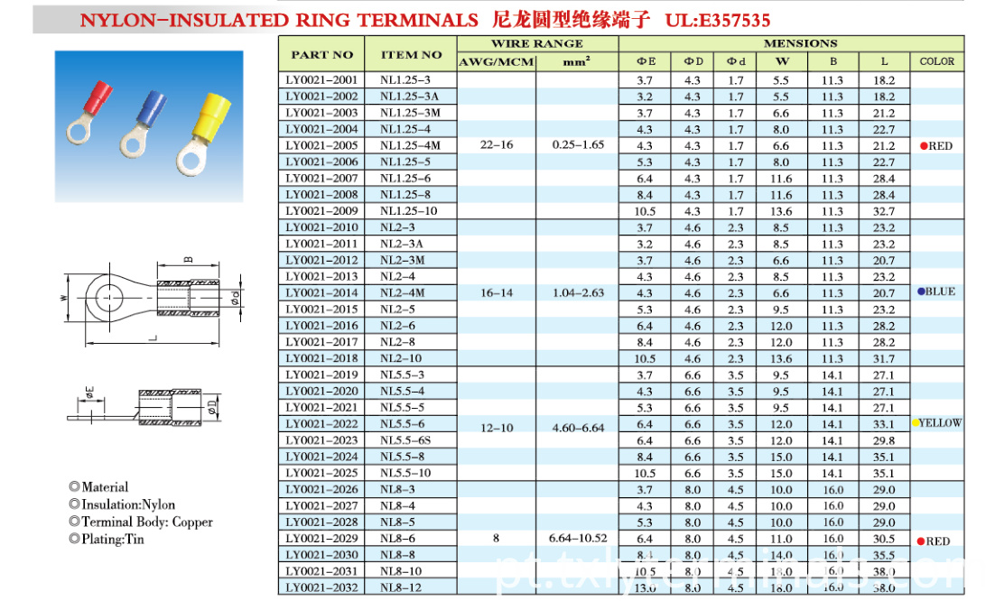 NYLON-INSULATED RING TERMINALS