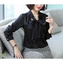 Office Blouses for Women Elegant Bow Satin Imitated Silk Shirts