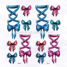 Patrón de arco bowknot impermeable etiqueta engomada del tatuaje en 3D personalizado para vestir