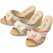 New design summer shoes women wedge shoes wedge heel with linen for Female