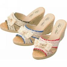 Novos sapatos de verão do projeto mulheres cunha calçados calcanhar de cunha com linho para Feminino