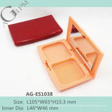 Vazio retangular compacta em pó caso com espelho AG-ES1038, embalagens de cosméticos do AGPM, cores/logotipo personalizado