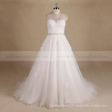 Glamourous Scoop Neck A-ligne Perles Lace Embellish Wedding Party Dress With Chapel Train