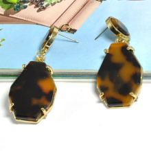 Custom tortoise shell texture acetate inlay inset in gold zinc alloy by claw hypoallergenic earrings