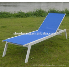 Outdoor hotel poolside furniture aluminum chaise lounge fabric sun lounger