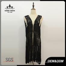 Lady's Fashion - Fringe noir sans manches au crochet
