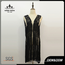 Lady′s Fashion Black Fringe Sleeveless Crochet Coverup