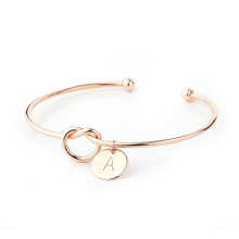 Free Sample Single Heart Bangle Love Stainless Steel Initial Cuff Knot Bracelet