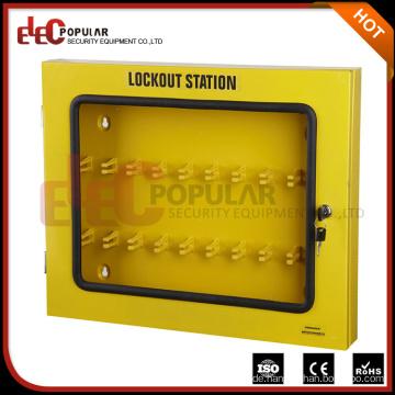 Elecpopular Hersteller Kundenspezifische Stahlplatte Yelllow Lockout Boxen mit sichtbarem Fenster