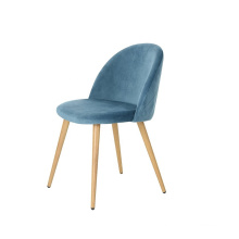 Nordic retro dining chair modern metal blue crushed velvet  with low price