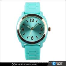 Relógio de bolso azul-turquesa de silicone, fabricantes de relógios na China
