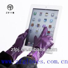 La alta calidad al por mayor del precio bajo personalizó los guantes de la pantalla táctil de cuero