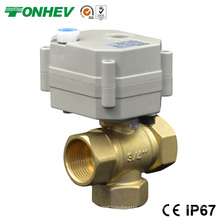 3 Wege Elektrische Steuerung Messing Kugelhahn 3 Port Durchflussregelventil mit Handgriff (DN15 DN20)