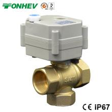 Válvula de bola de latón de control eléctrico de 3 vías Válvula de control de flujo de 3 vías con mango manual (DN15 DN20)