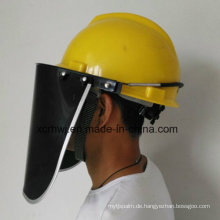 Schützende Gesichtsmaske, PVC / PC Schirm Faceshield Visor, PC Visor Face Shield für Sicherheitshelm, PVC Face Shield Visor, Transparente Face Shield Visor, Green Face Shield
