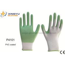 Poliéster Shell PVC guante de trabajo de seguridad recubierto (P4101)