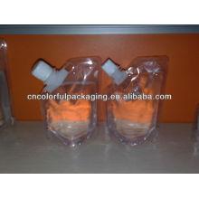 3 capas de líquido de pico de venta caliente transparente Especial diseño de pico de aspecto agradable Material laminado Doypack bolsa de embalaje de pico