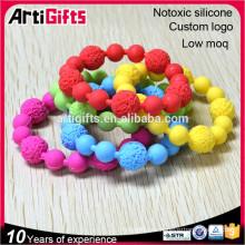 Varias pulseras de cuentas de colores diseños brazaletes de pulseras de cuentas suaves de silicio