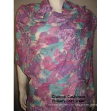 Кашемир фиолетовый цветок печати