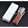 Wooden handle pocket knife With LED Flashlight