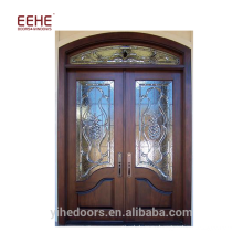 Дверь из фанерованной древесины Foshan с деревянной дверью из мдф / арочной входной деревянной дверью