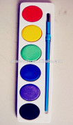 promotional non toxic cheap price colorful 6pcs watercolor cake acrylic artistic paint