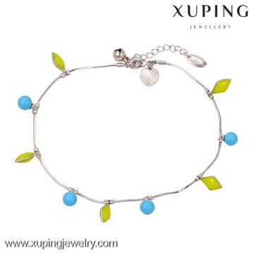 Bracelets de cheville de couleur argent sterling 73547-925, bracelets de cheville en argent pour femmes, bracelet de cheville coloré pour la danse indienne