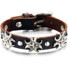 2015 new retro leather cross bracelet bracelet fashion jewelry leather bracelet PH782