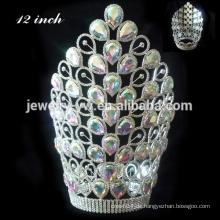 Mode Rosa Kristall Krone Große Festzug Tiara Krone