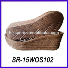 wood styles lady thick sole casual shoes wedge sole pu shoe sole