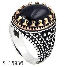 Дизайн горячая распродажа 925 ювелирные изделия стерлингового серебра кольцо с черным Агатом