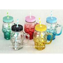 Skull Shape Glass Moson Jar for Drinking Cup or Mug with Cap