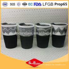 AB Grade New Bone caneca cerâmica caneca de café de impressão com tampas