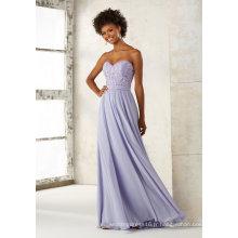 Bustier En Mousseline De Soie Perlage Broderie Bleu Soirée Robe De Demoiselle D'honneur Qh66054