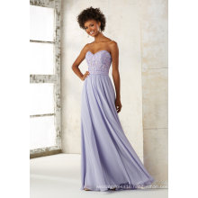 Strapless Chiffon Beading Embroidery Blue Evening Pary Bridesmaid Dress Qh66054