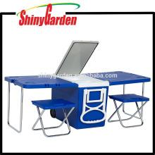 Enfriador que acampa de la comida campestre 28L que acampa al aire libre con la tabla y 2 sillas