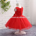 Robe de couleur rouge pour enfants Pageant Robes pour petites filles Pageant Robes Flower Girl Puffy Dress