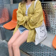 Осеннее двухцветное пальто с длинными рукавами для женщин