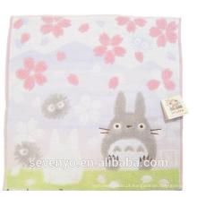 100% Algodão Jacquard Cherry blossoms Totoro Toalha de Rosto Macio