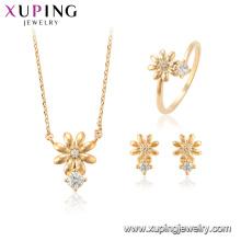 64699 xuping moda flor forma brinco do parafuso prisioneiro encantos conjunto de jóias