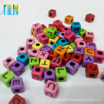 handmade jewelry making solid color acrylic alphabet cube beads