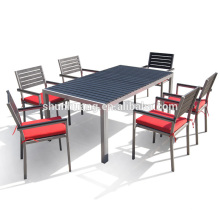 Poolside plastic wood furniture aluminum frame dining table and chairs