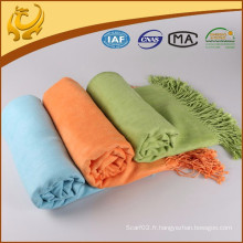 Matériau en bambou de haute qualité Voyage Throw Woven Blanket en vrac brossé