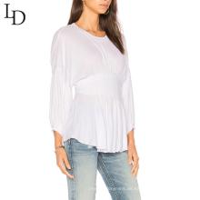Langes weißes T-Shirt der kundenspezifischen hohen elastischen Taille Langhülse Ebene weißes