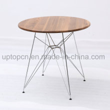Restaurant Table with Chrome Steel and Wooden Top (SP-RT570)