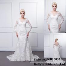 Vestido de noiva da fábrica da China feito de manga longa aplicada no laço senhoras vestido de casamento real xxxl tamanho