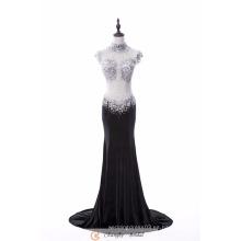 Vestido de noche de lujo de gran diamante ver a través de vestidos de noche de sirena negro